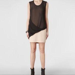 ALLSAINTS Afia Black and Tan sheath dress